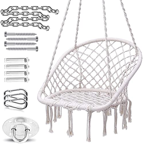 Hammock Chair, Ohuhu Max 330 LB Hanging Chairs with Durable Hanging Hardware Kit, Indoor & Outdoor Use Hammock Chair Macrame Swing, Cotton Rope Handmade Knitted Mesh for Bedroom, Patio, Yard, Garden