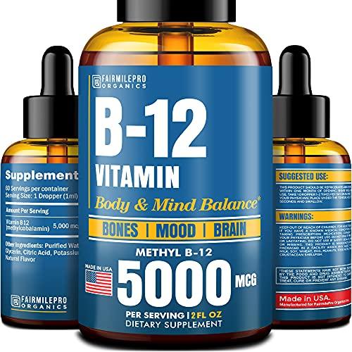 Vitamin B12 Sublingual 5000 mcg - B12 Liquid Methylcobalamin - Made in USA - Vegan Methyl B12 Drops for Healthy Bones & Balanced Mood - Natural B12 Vitamins for Brain Support - Cruelty-Free - 2 fl oz