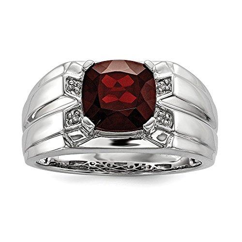 925plata de ley cojín corte granate y diamante anillo de compromiso para hombres