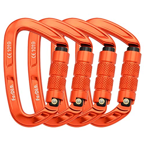 FerDIM Climbing Carabiner with Auto Locking, 25KN (5620 lbs) Twist Lock and Heavy Duty, CE UIAA Certified Locking Carabiner for Climbing, Mountaineer, Hammock, Camping, Rappelling Swing Orange 4 Pack