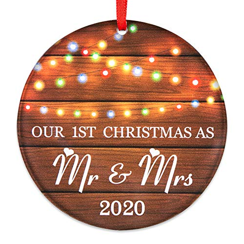 SICOHOME Our First Christmas as Mr & Mrs 2020, 3' Rustic 1st Married Newlyweds Keepsake Ornament,Double-Side Printed,Farmhouse Collectible Present