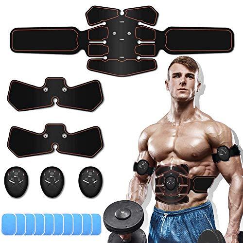 Electroestimulador Muscular Abdominales, Masajeador Eléctrico Cinturón,Estimulación Muscular Masajeador Eléctrico Cinturón Abdomen/Brazo/Piernas/Glúteos,Almohadillas de Gel 10pcs