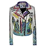 Biddtle Lederjacke Damen Fashion Umlegekragen Punk Rock Hip Hop Graffiti Nieten Reißverschluss Jacken Damen Mäntel,S
