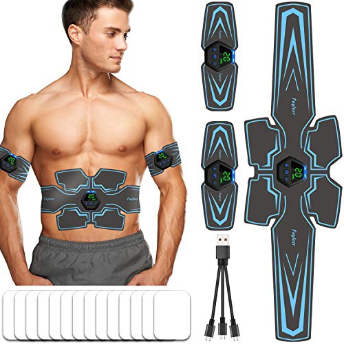 ABS Muscle Stimulator, Fayleer Muscle Toner ABS Trainer Abdominal Toning Belt Abdominal Muscle Toner ABS Stimulator for Abdomen/Arm/Leg Men and Women, USB Rechargeable