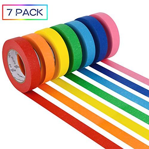 7 Rolls Colored Masking Tape, Colorful Rainbow Painters Tape, Different Colors Decorative Arts & Crafts Tape Set, 1 inch Wide by 60 Yard, Rainbow, Pack of 7 by Skytogether Photo #3