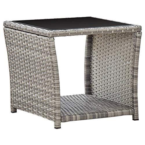 vidaXL Couchtisch Beistelltisch Gartentisch Teetisch Tisch Gartenmöbel Kaffeetisch Balkontisch Terrasse Grau 45x45x40cm Poly Rattan Glas