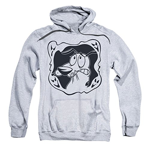 Trevco Courage The Cowardly Dog-Ghost Frame - Adult Pull-Over Hoodie - Athletic Heather & Large