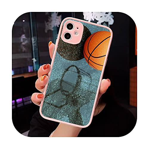 Baloncesto llama fuego Color teléfono caso mate transparente para iPhone 7 8 11 12 s Mini pro X XS XR MAX Plus cubierta funda-a3-iPhone12mini