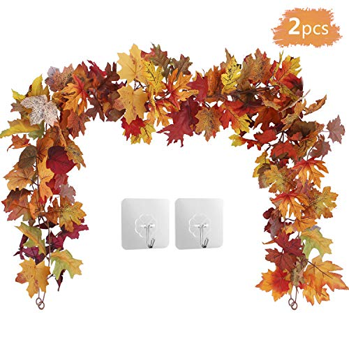 OUTLEE 2Pack Fall Maple Leaf Garland Hanging Fall Leaves Vine Artificial Autumn Foliage Garland Thanksgiving Decor for Home Wedding Party Christmas