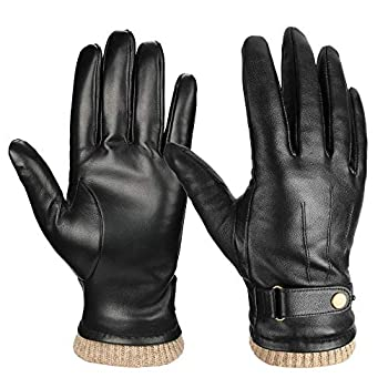 Mens Winter Gloves Genuine Nappa Leather Soft Warm Cashmere Lining Phone Texting Touchscreen Glove - Thermal Gifts for Husband or Dad Black Large