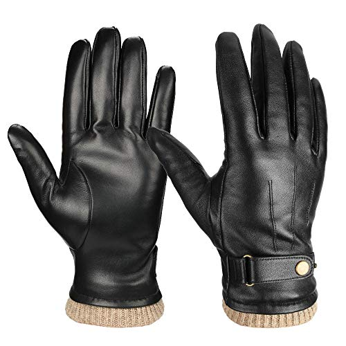 Men's Nappa Leather Winter Gloves, Insulated Texting Glove for Motorcycle