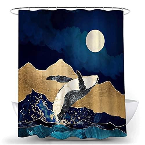 SUUZQK Ölgemälde Landschaft Serie Badezimmer Trennwand Wasserdicht Schimmelschutz Vorhang Badezimmer Trennwand Wand Duschvorhang 120x180cm(WxH) P