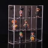 """Clear Mounted Acrylic Display Case Organizer Storage Box - 15 Compartments - Sliding Door Dustproof Protection Showcase for Collectibles Mini Figure Action Toys Rock Stone(11"""" x 2.95"""" x 10.5"""")"""