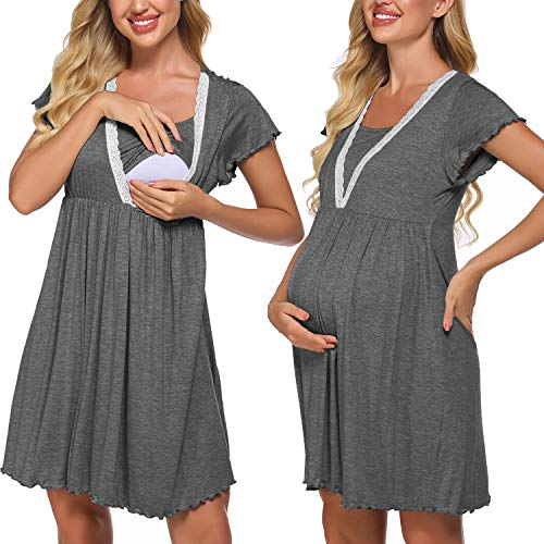 Meaneor - Camisón de lactancia para mujer, de manga corta, para embarazadas...