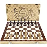AMEROUS Chess Set, 15'x15' Folding Magnetic Wooden Standard Chess Game Board Set with Wooden Crafted Pieces and Chessmen Storage Slots