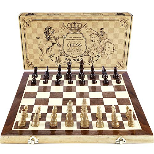 AMEROUS Chess Set 15quotx15quot Folding Magnetic Wooden Standard Chess Game Board Set with Wooden Crafted Pieces and Chessmen Storage Slots