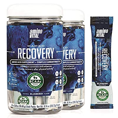 Amino VITAL Rapid Recovery- BCAAs Amino Acid Post Workout Powder Packets | Muscle Recovery Drink with Glutamine | Vegan, Gluten Free Supplement | 28 Single Serve BCAA Travel Packets | Blueberry Flavor