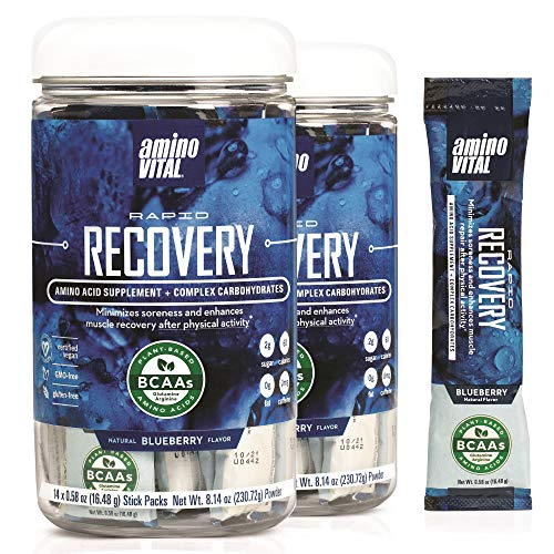 Amino VITAL Rapid Recovery- BCAAs Amino Acid Post Workout Powder Packets   Muscle Recovery Drink with Glutamine   Vegan, Gluten Free Supplement   28 Single Serve BCAA Travel Packets   Blueberry Flavor