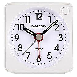 FAMICOZY Mini Size Alarm Clock, Quiet Non Ticking Travel Alarm Clock with Snooze and Nightlight,Gradually Increasing in Volume,Lightweight Analog Quartz Clock,Battery Operated,White
