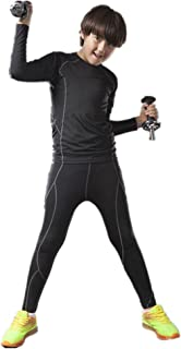 QD-WST Boys & Girls Sports Base Layer Compression Set Long Sleeve T-Shirt Pants 2 PCS Cool Dry