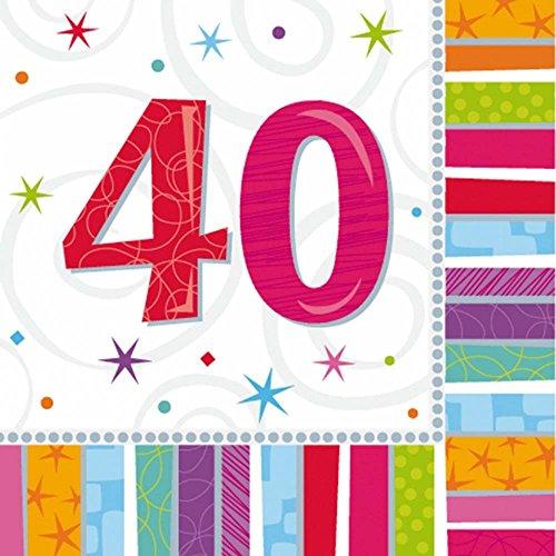 16 grandes serviettes anniversaire 40 ans 32.7 cm x 32.7 cm papi