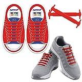 Homar No Tie Lacci per scarpe per bambini e adulti - Impermeabile in silicone elastico piatto Laces Athletic scarpa da corsa con multicolore per Scarpe Sneakerboots bordo e scarpe casual (Kid Size Red)