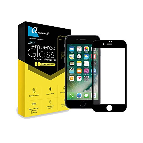 Ascension ® Border Tempered Gorilla Screen Protector High 9h Hard 2.5D Ultra Clear for Apple iPhone 7 Plus (Black)
