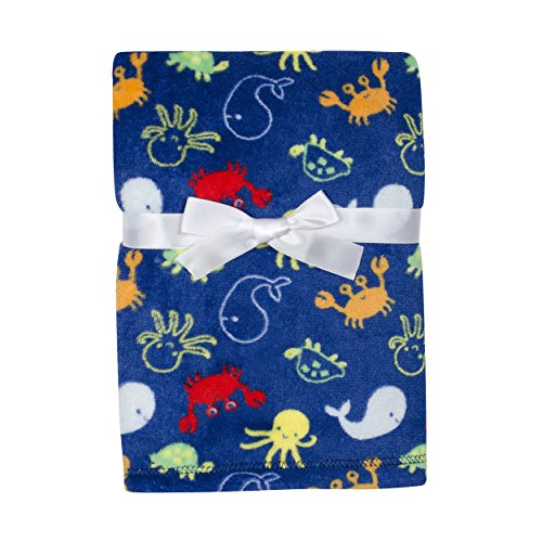 Baby Gear Plush Velboa Ultra Soft Baby Boys Blanket 30 x 40, Sea Creatures