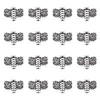 約50個 アンティークシルバー 合金ビーズ トンボ スペーサービーズ メタルビーズ アクセサリーパーツ ジュエリー用 DIY ハンドメイド 手芸材料 手作り素材 クラフト用品 10x15x3mm