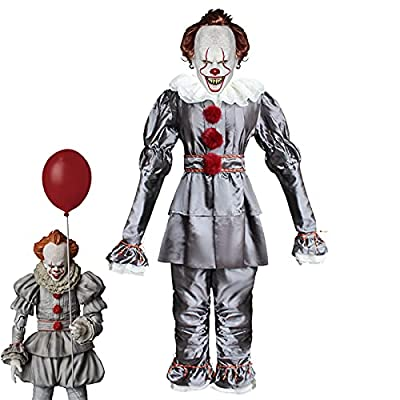 Creepy Clown Costume Kids Halloween Cosplay Outfit With Scary Mask Full Sets Masquerade Party (Silver, Medium) by