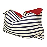 rucomfy Beanbags Indoor Outdoor Nautical Stripe Giant Squashy Squarbie Bean Bag. Use as Cushion, Chair or Lounger. Water Resistant 170 x 130cm (Navy)