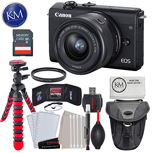"Canon EOS M200 Mirrorless Digital Camera with 15-45mm Lens (Black) with 32GB & Essential Bundle: Includes - Holster Bag, 12"" Tripod, and Striker Starter Kit."