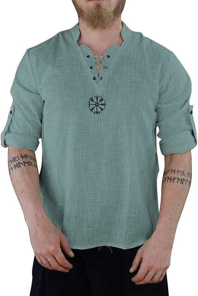 sweetnice man clothing Mens Linen Cotton Henley Shirt Short Sleeve Lace up V Neck Regular Fit Hippie Dress Shirts