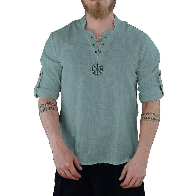 haoricu Men's Cotton T Shirt Casual Beach Hippie Yoga Tees Plain Drawstring Lace-up Summer Tops