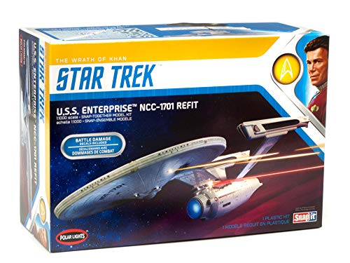 Polar Lights Star Trek U.S.S. Enterprise Refit Wrath of Khan Edition 1/1000 Scale Snap Together Space Ship Model Kit TV Show Replica (NO Glue Required)