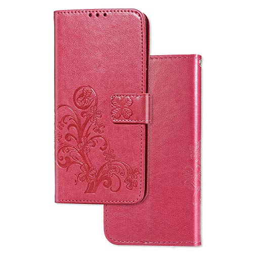 COTDINFOR Funda para LG K30 2019 Cárcasa Elegante Retro Flip Cuero Cierre Magnético Billetera con Tapa para Tarjetas-Diseño de Suave PU Cuero para LG K30 2019 Clover Red SD