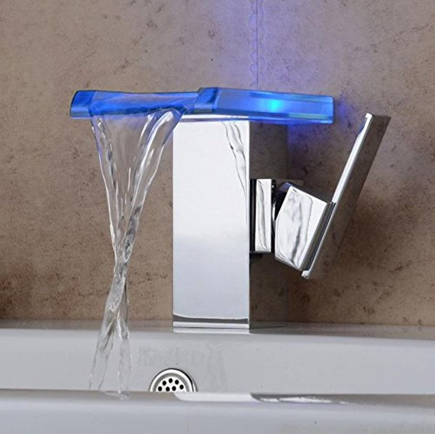 AQMMi Basin Sink Mixer Tap for Lavatory LED Thermostatic Chrome Brass Single Lever 1 Hole Glass Waterfall Single Lever Bathroom Vanity Sink Faucet