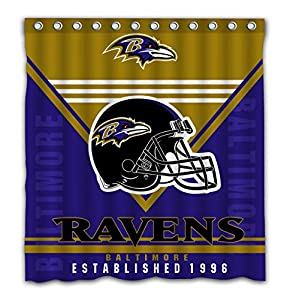 "Gubaba Custom Durable Waterproof Baltimore Ravens Shower Curtain American Tootball Team Polyester Fabric 66""x72"" Bathroom Decor Bath Curtains Set with 12 Hooks"