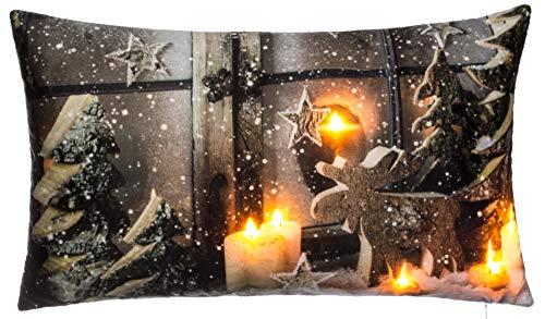 Brandsseller Weihnachtskissen LED Beleuchtet Timer Dekokissen Leuchtkissen 6 LED`s Zierkissen 50x30 cm Weihnachtsdeko Fenster Braun