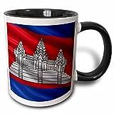 3dRose Tasse mit Flagge von Kambodscha, winkt im Wind, zweifarbig, Keramik, 10,16 x 7,62 x 9,52 cm