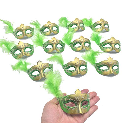 Mini Masquerade Masks Party Decoration - 12pcs Set Green Small Mardi Gras Feather Mask Party Favors for Kids