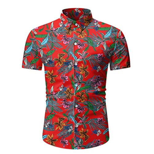 Xmiral T-Shirt Camicia da Uomo Hawaiana a Maniche Corte con Bottoni Stampati Estivi Casual (3XL,7Rosso)