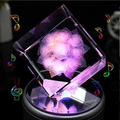 liwuyou quadratisch Kristall 3D Rosa Blaume Farbeful LED-Licht drehbar Spieluhr, Rosa, Blautooth Base