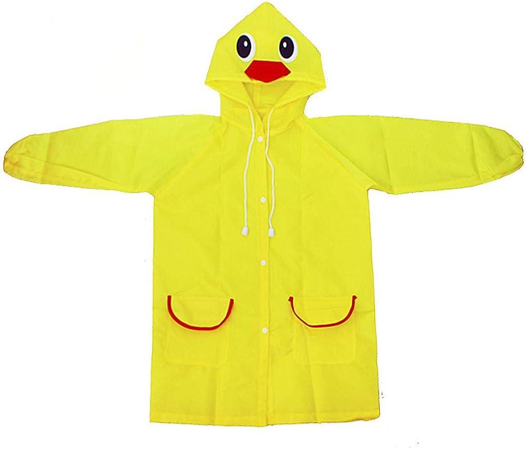2-8T Toddler Rain Jacket, Cartoon Waterproof Hooded Long Rainwear for Boys Girls