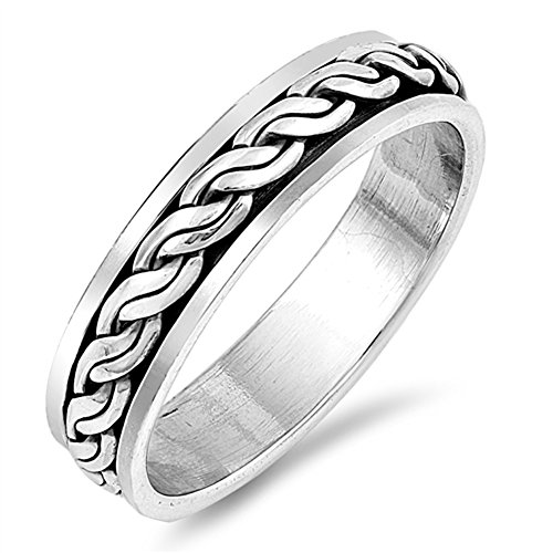 Weave Knot Spinning Fun Celtic Wedding Ring .925 Sterling Silver Band Size 10