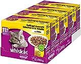Whiskas 11 + Katzenfutter – Geflügel-Auswahl in Gelee – Leicht verdauliches Katzenfutter ab 11 Jahren und älter – 48 Portionsbeutel à...