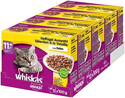 Whiskas 11 + Katzenfutter – Geflügel-Auswahl in Gelee – Leicht verdauliches Katzenfutter ab 11 Jahren und älter – 48 Portionsbeutel à 100g