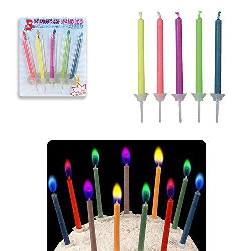 OOTB 5 Velas de cumpleaños de Llama Colorida con candelabro Vela Infantil...