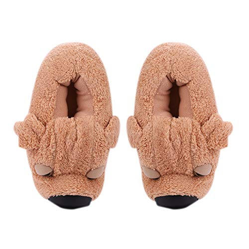 Winter Soft Plush Slippers Cute 3D Dog Slippers Thermal Cartoon Puppy Home Slipper Warm Ankle Boots Unisex Indoor Bedroom Slippers Furry House Shoes for Adult
