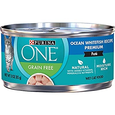Purina ONE Natural, High Protein, Grain Free Pate Wet Cat Food, Ocean Whitefish Recipe - (24) 3 oz. Pull-Top Cans